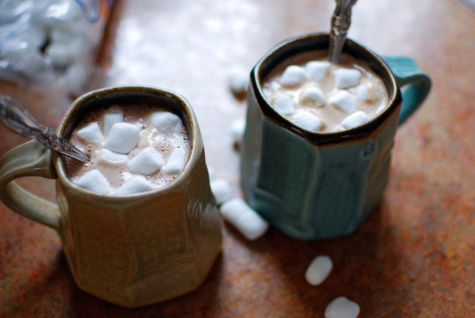 Creamy, delicious hot chocolate with marshmallows