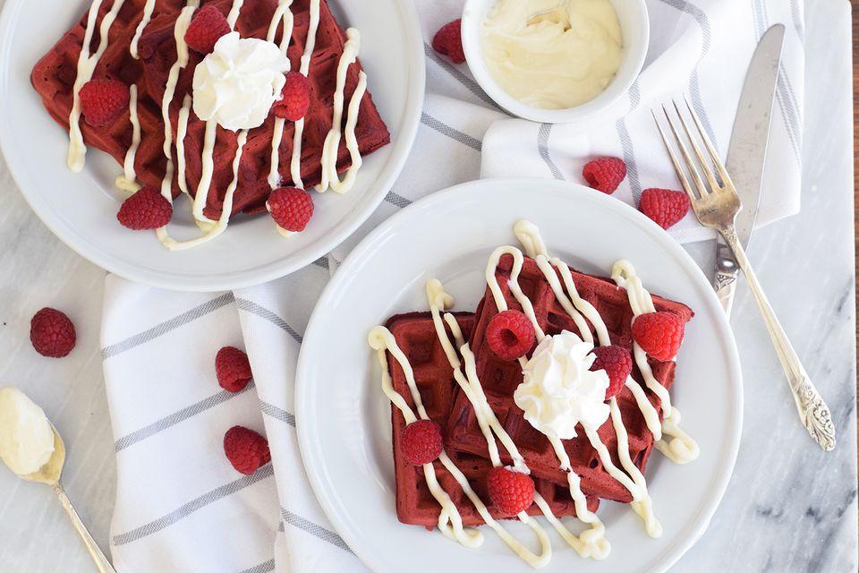Waffles de terciopelo rojo
