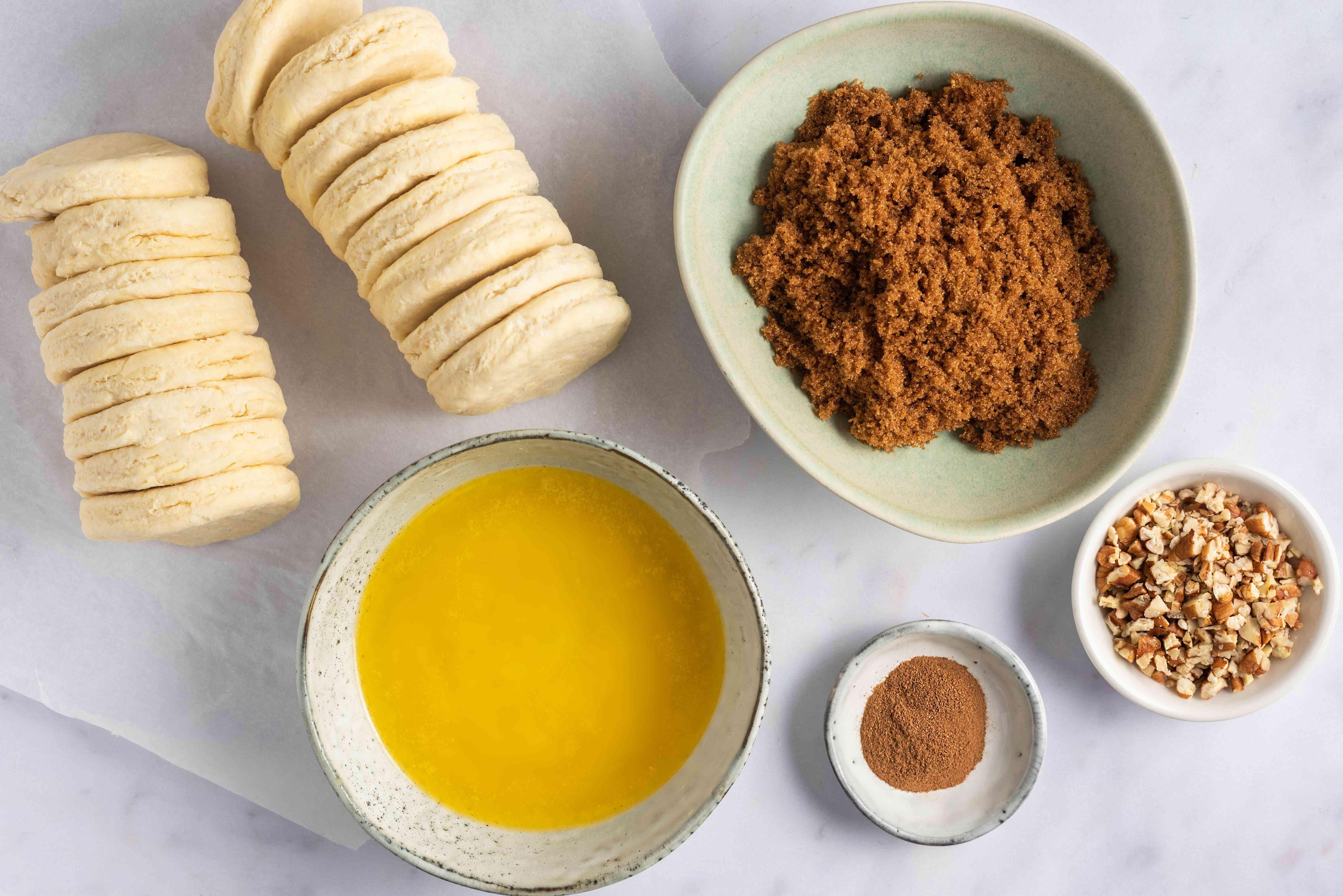 Ingredients for crockpot caramel pecan sticky buns