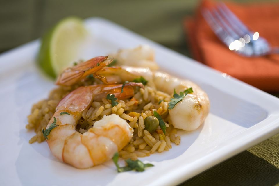 Rice and shrimp paella on a plate