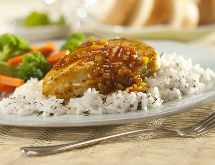 Orange glazed chicken breast with rice