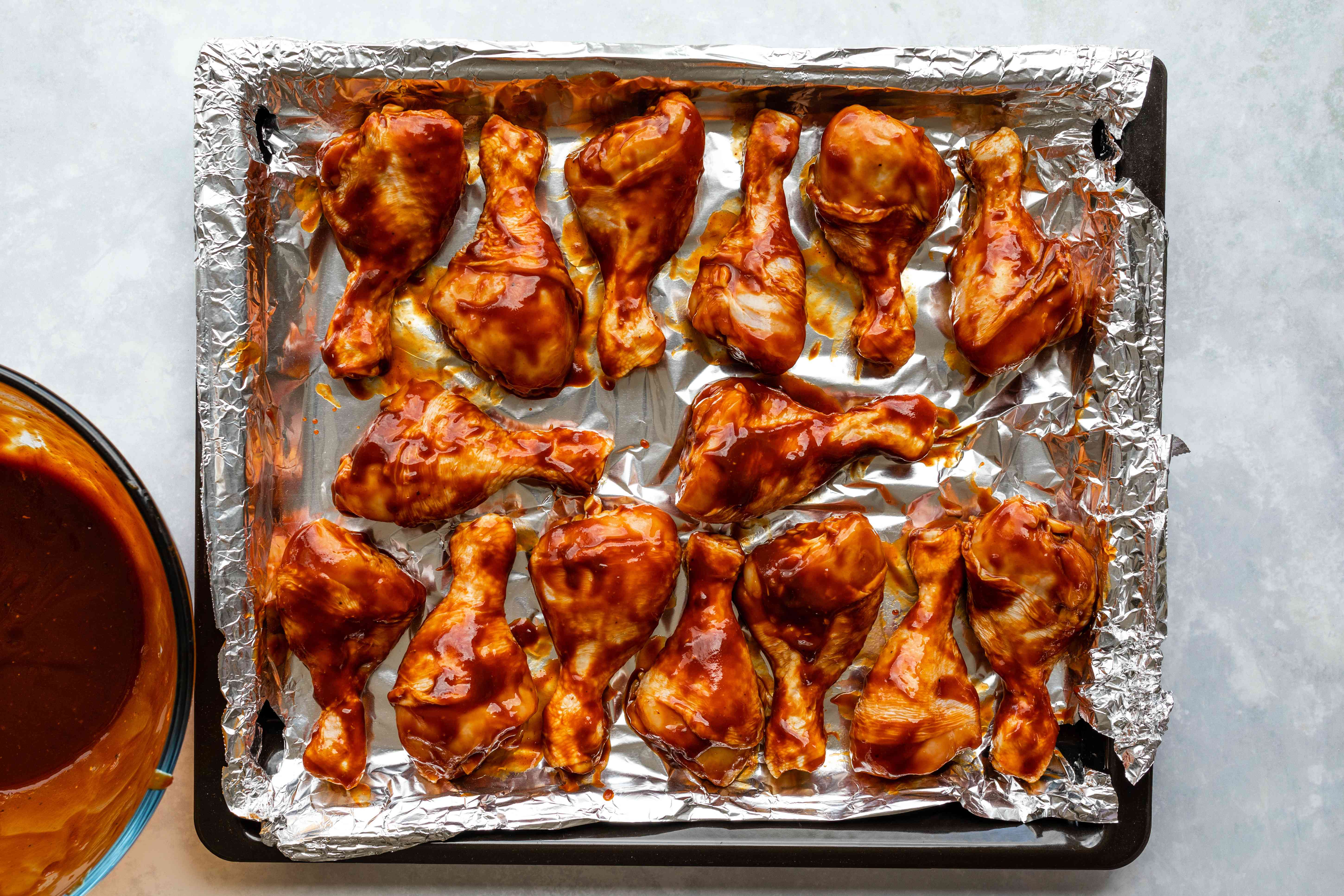 Chicken wings on the baking sheet