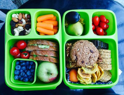 Healthy food In green lunch box