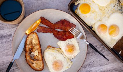 sheet pan eggs bacon toast and coffee