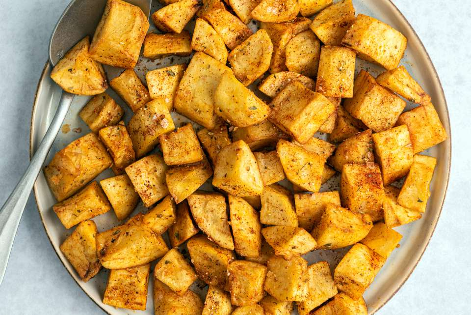 Moroccan Deep-Fried Potatoes recipe, on a plate