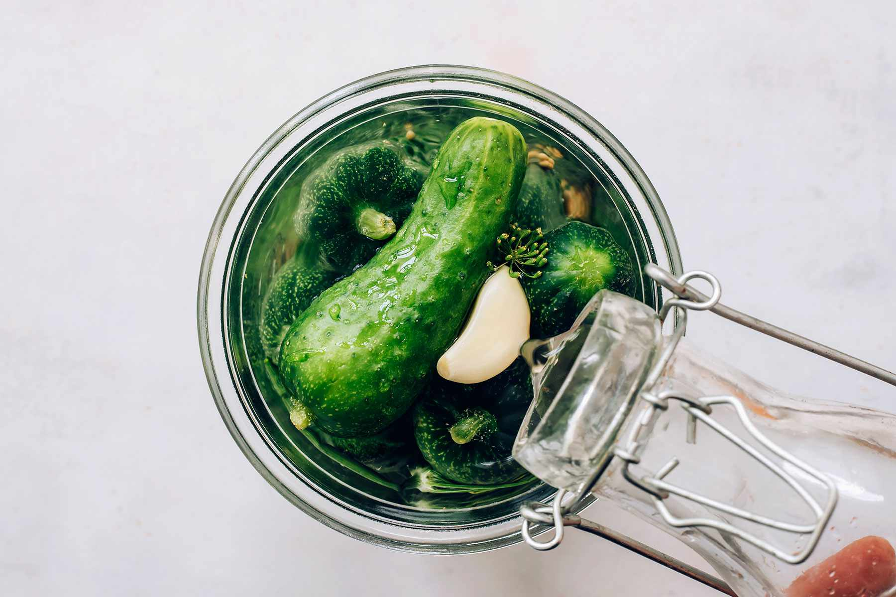pickles with salted water in a jar
