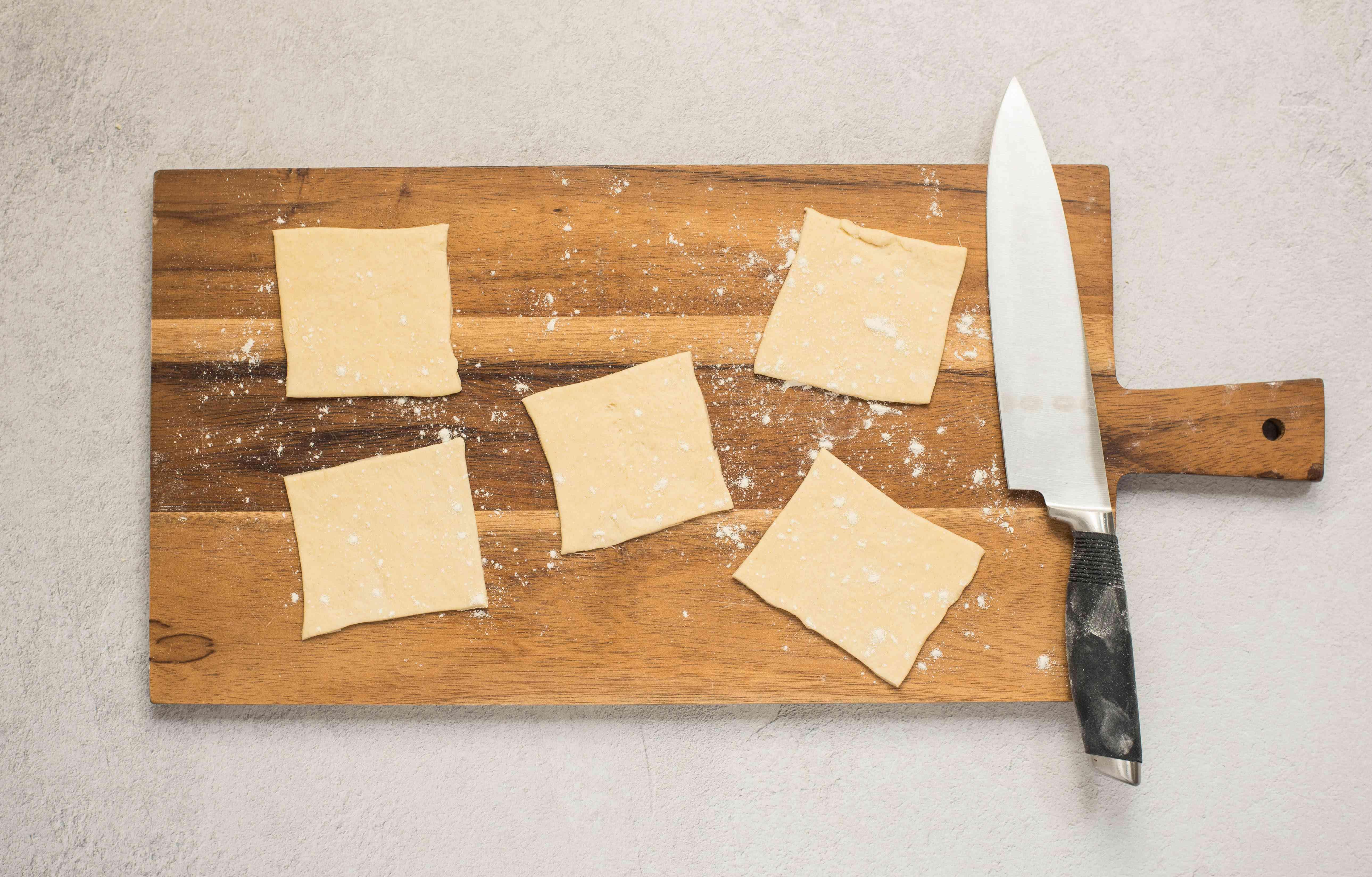 Cut flattened dough