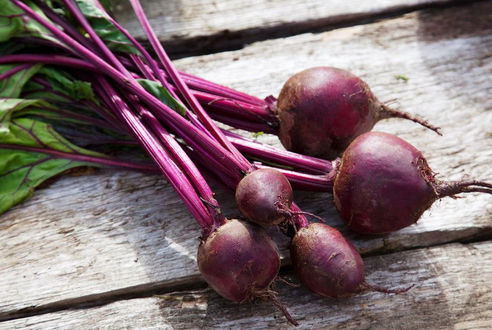 A bunch of freshly picked beetroot