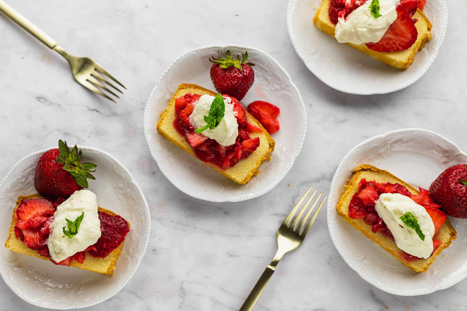 Strawberry Shortcake Made With Pound Cake, garnished with mint