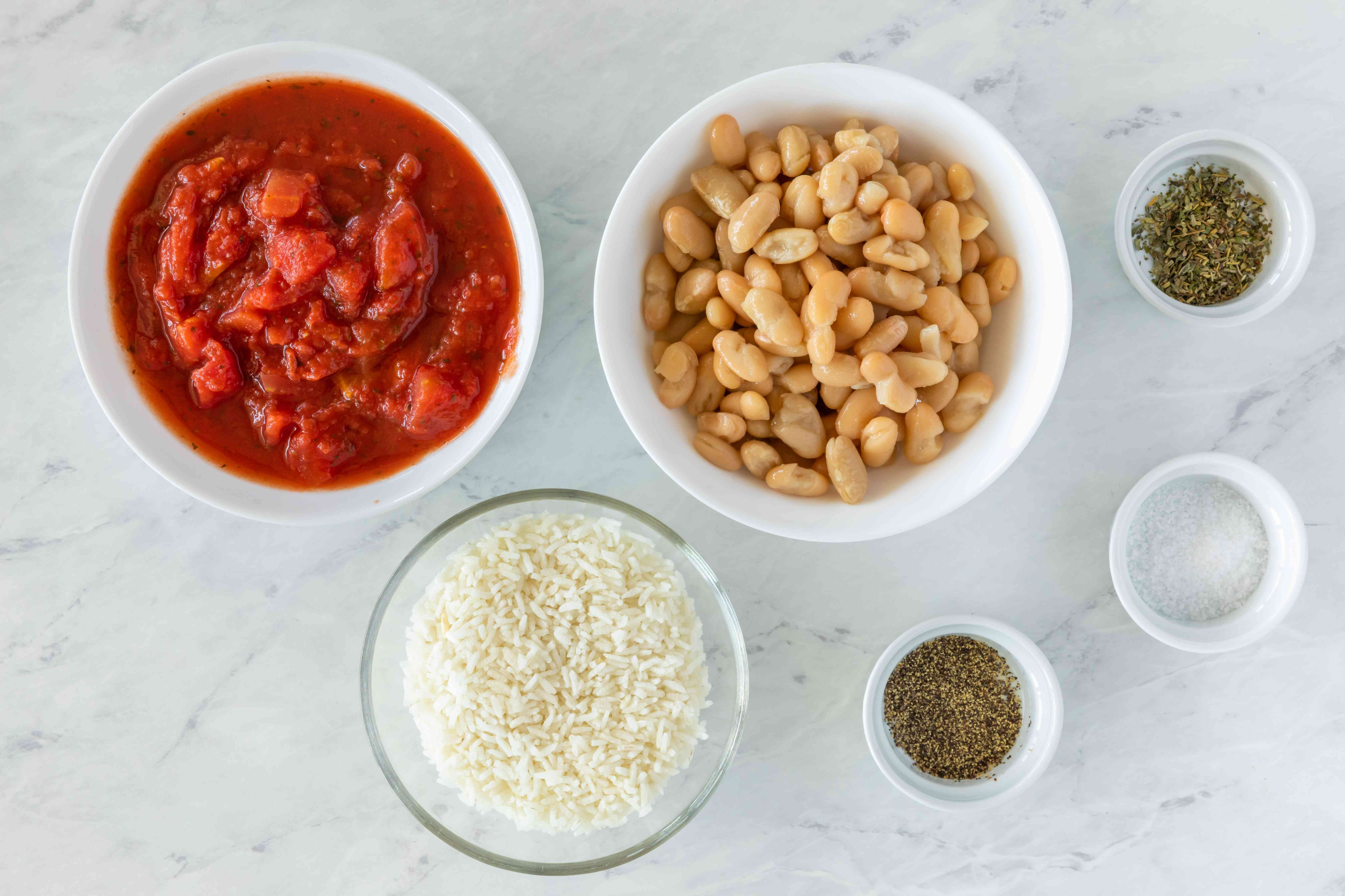 Ingredients for Italian style vegetarian rice and beans