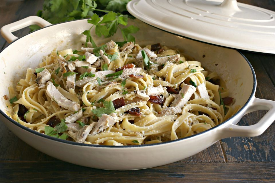 Chicken carbonara with Parmesan cheese