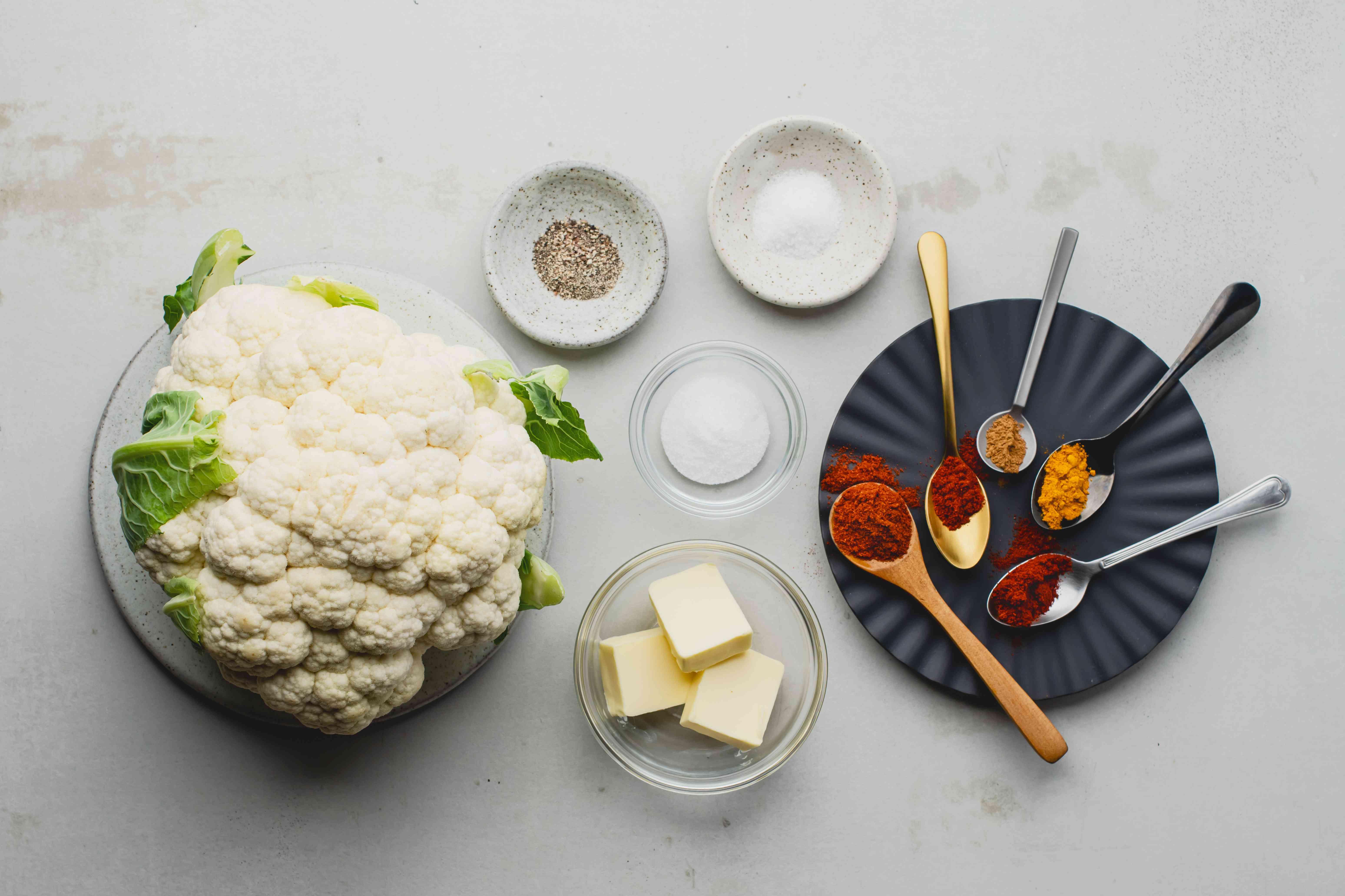 Ingredients for roasted cauliflower