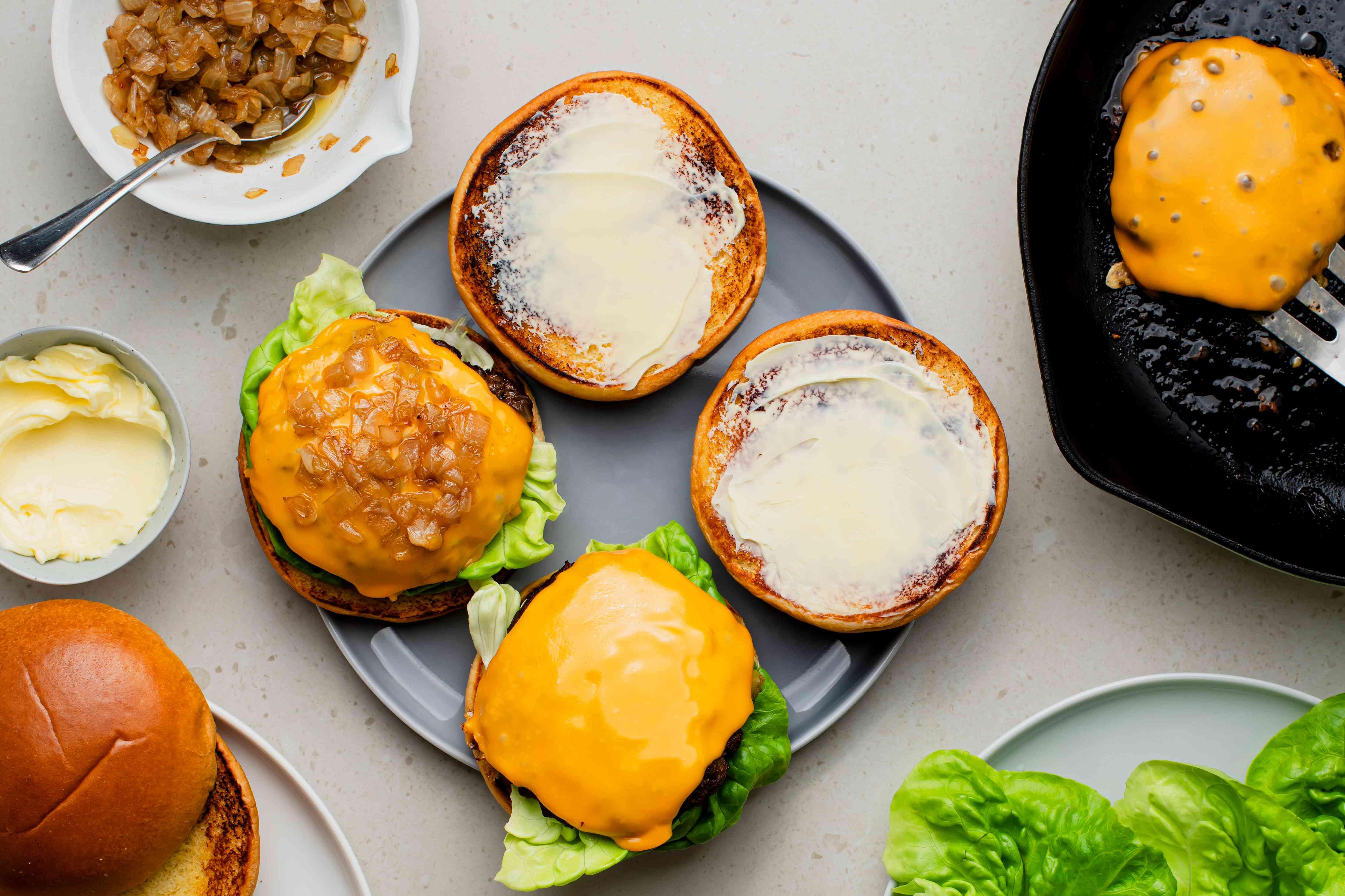 Butter Burgers, butter on the bun