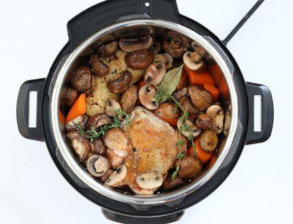 Making Instant Pot coq au vin.