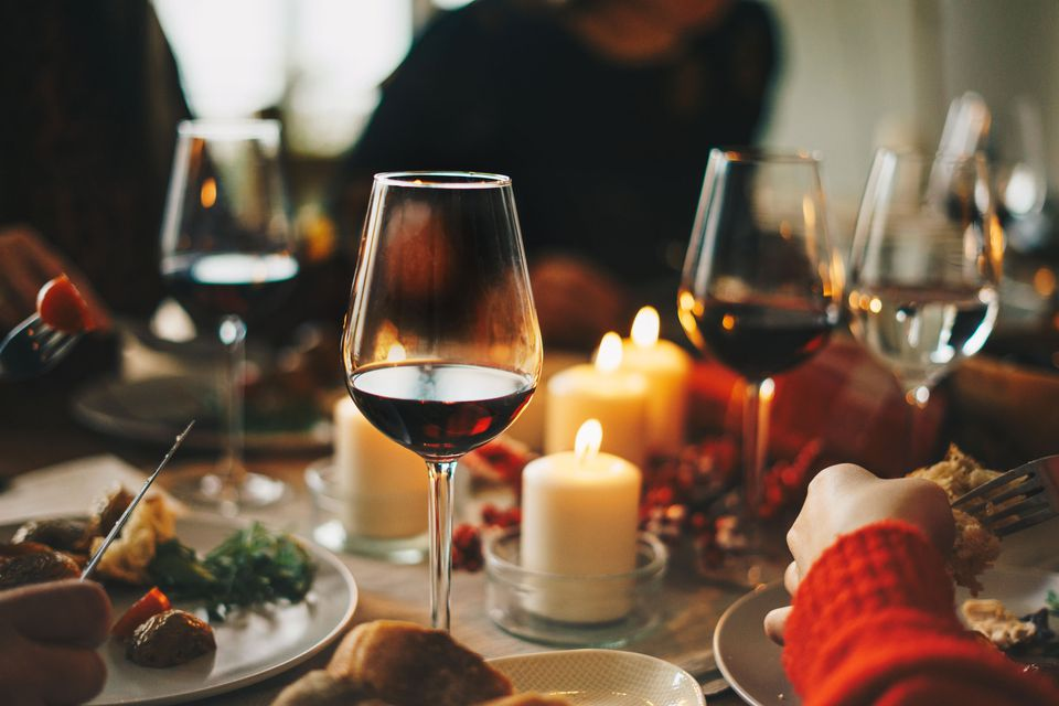 Wine at a holiday dinner party