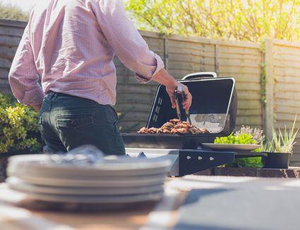 Grilling in a backyard