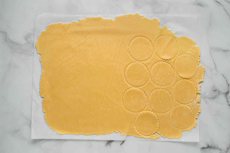 dough cut into cookie shapes