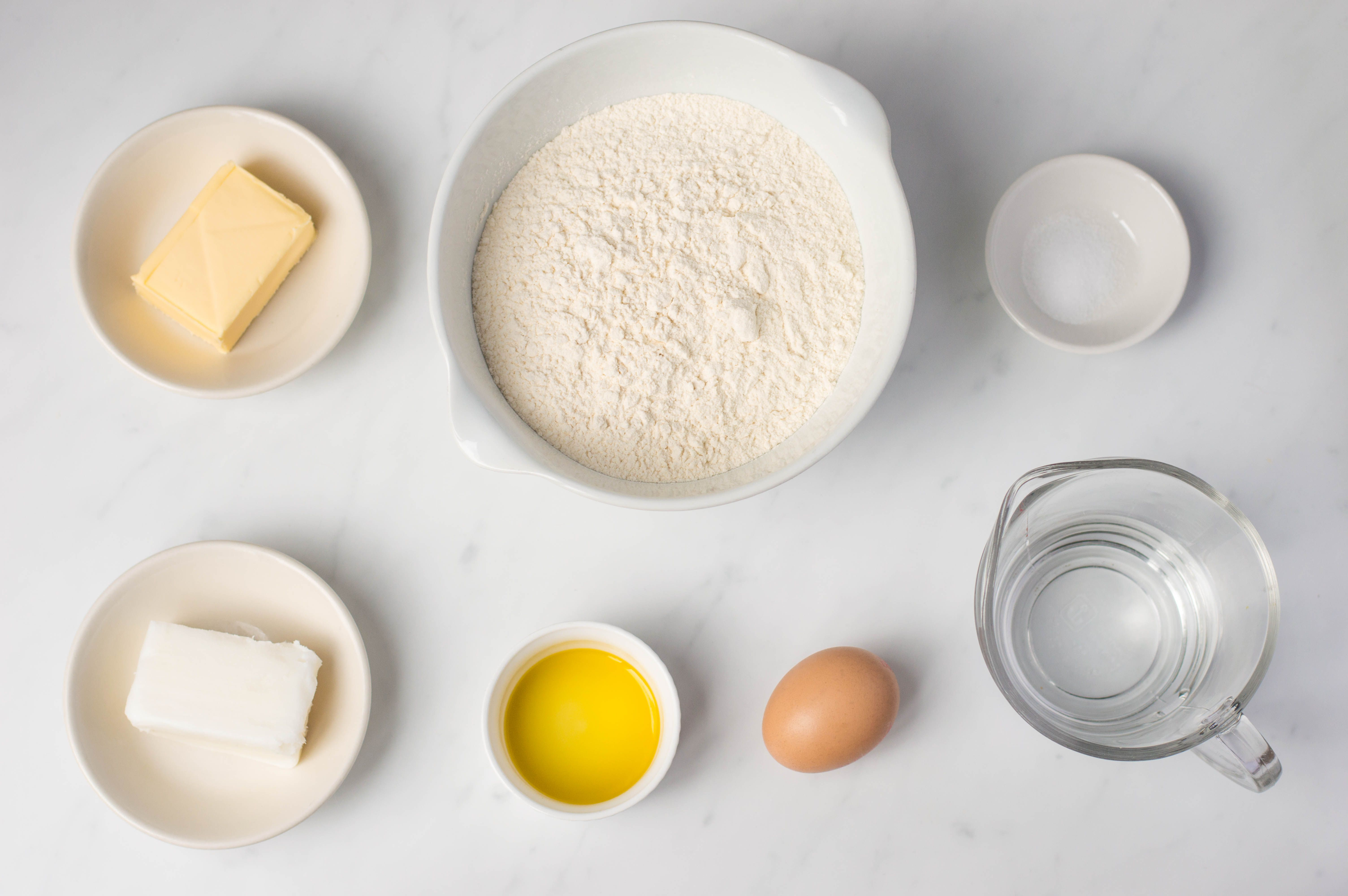 Ingredients for hot water pastry