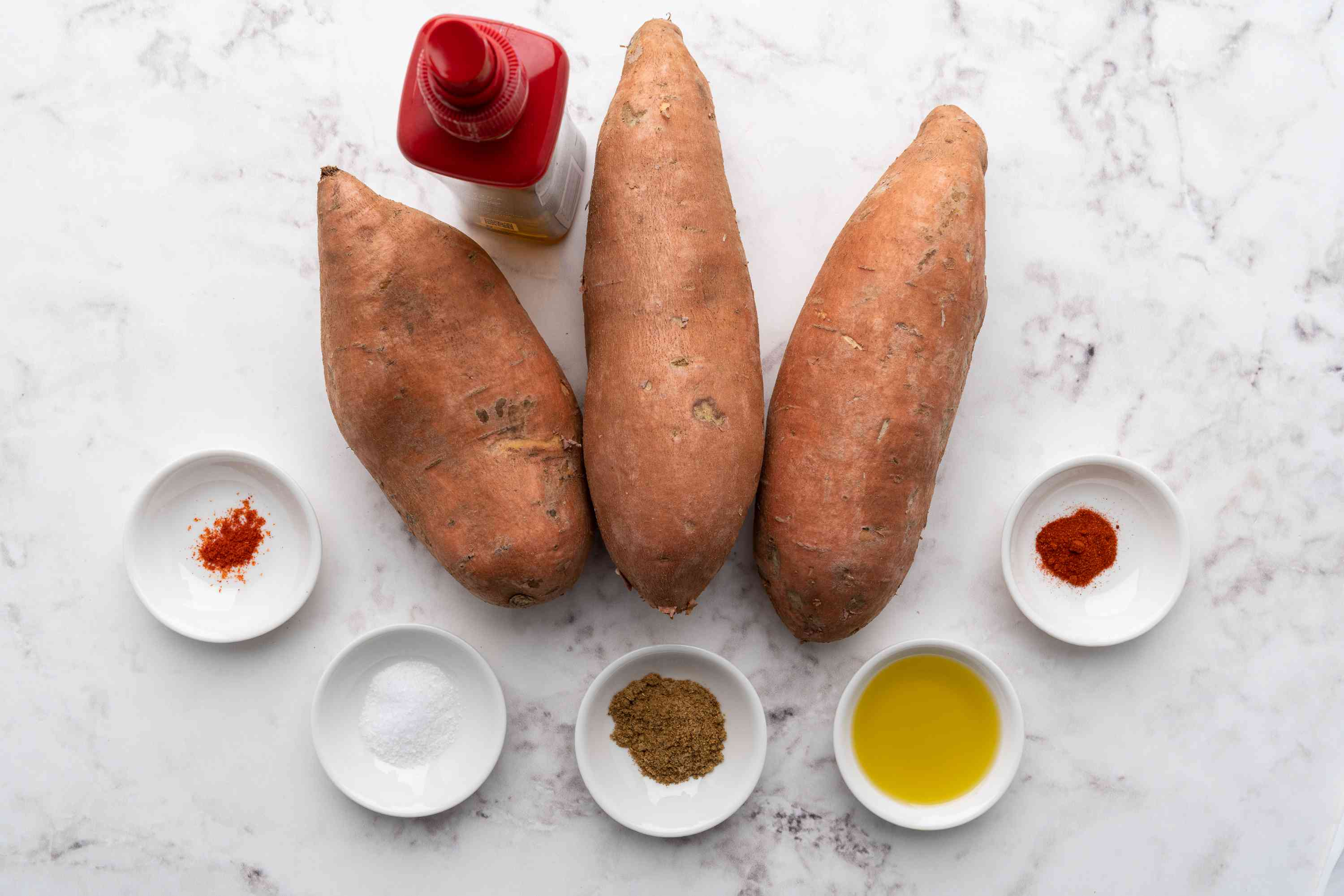 Ingredients for low fat sweet potato fries