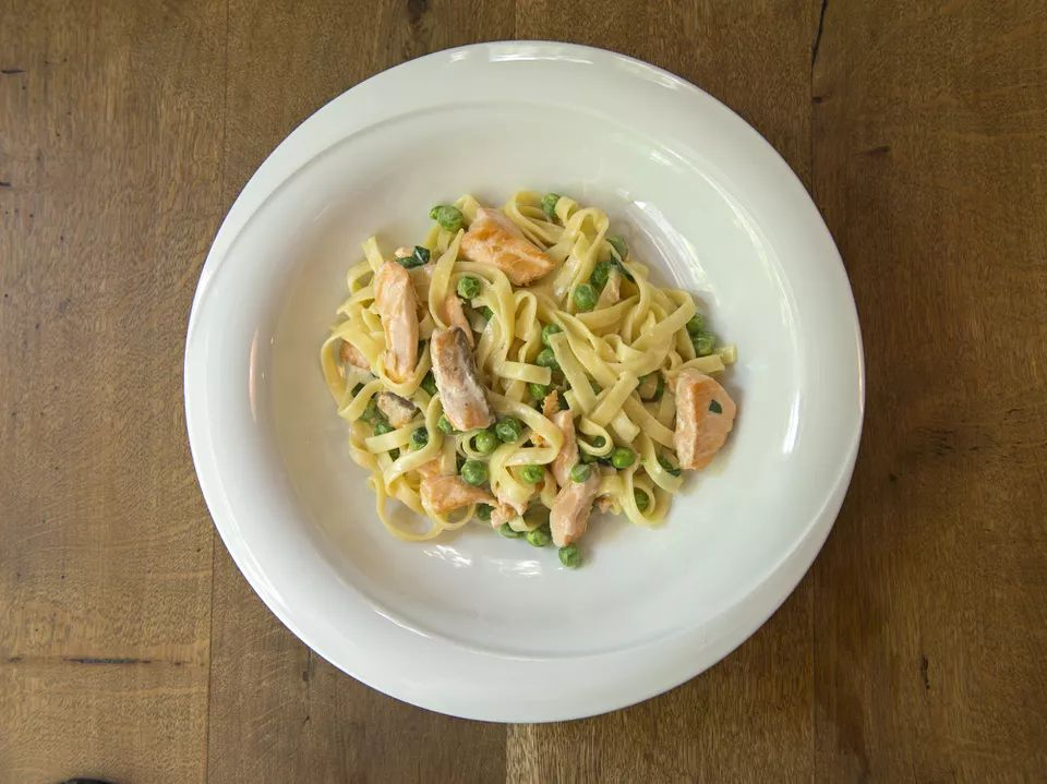 Salmon With Fettuccine-