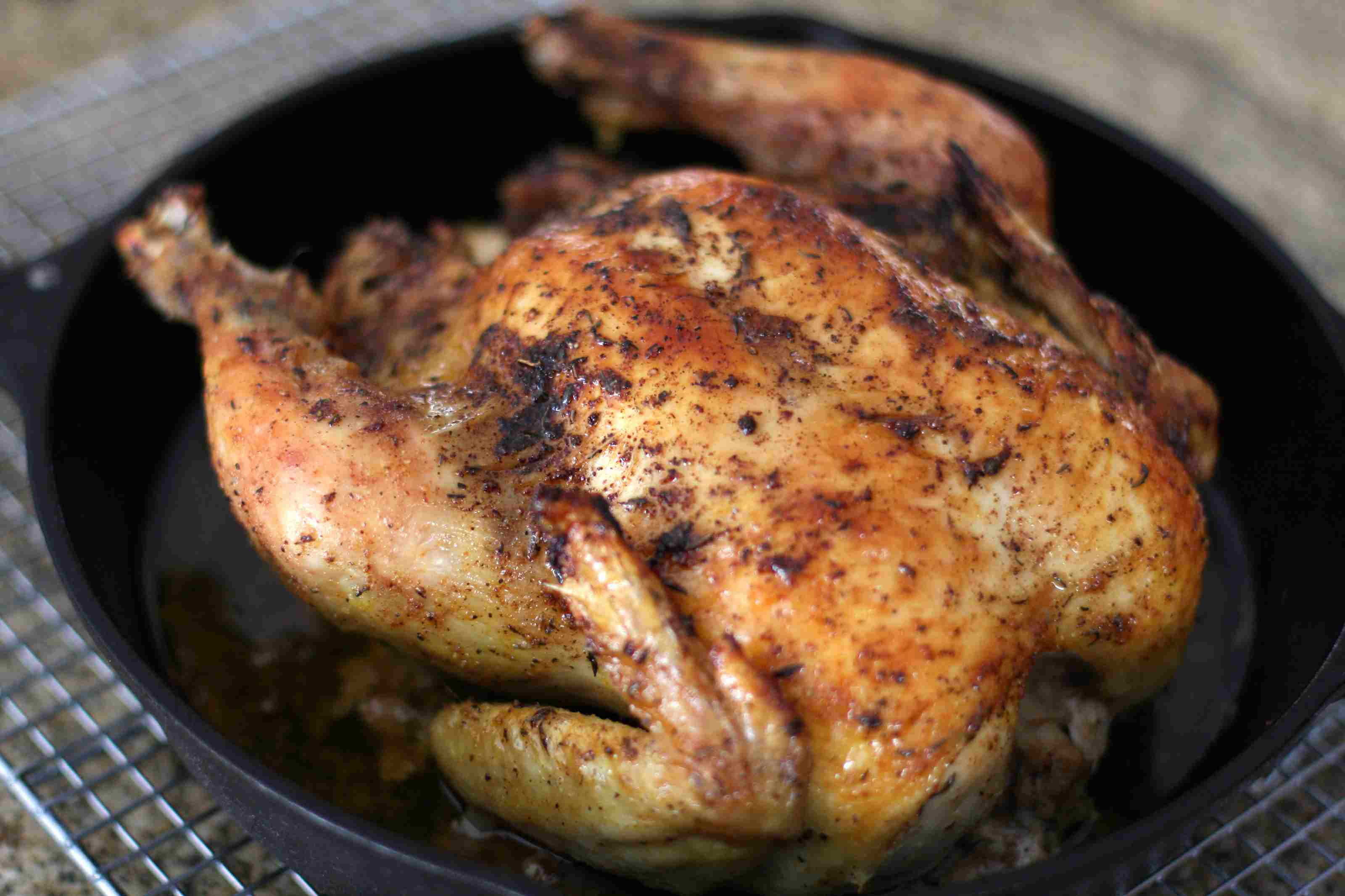 Roast chicken with herbs.