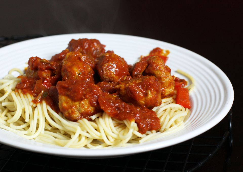 Turkey Meatballs on spaghetti dish