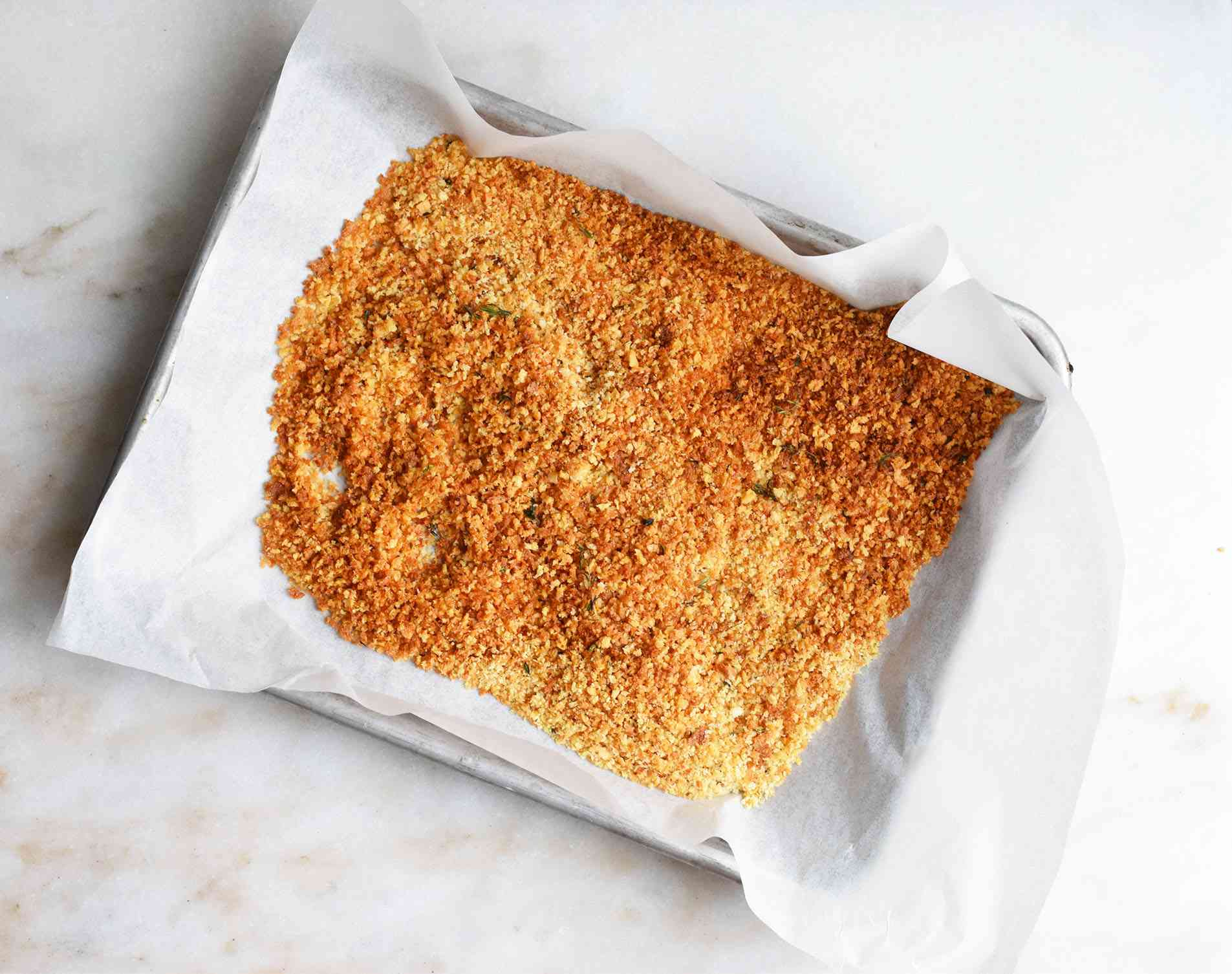 toasted Panko bread crumbs on a sheet pan