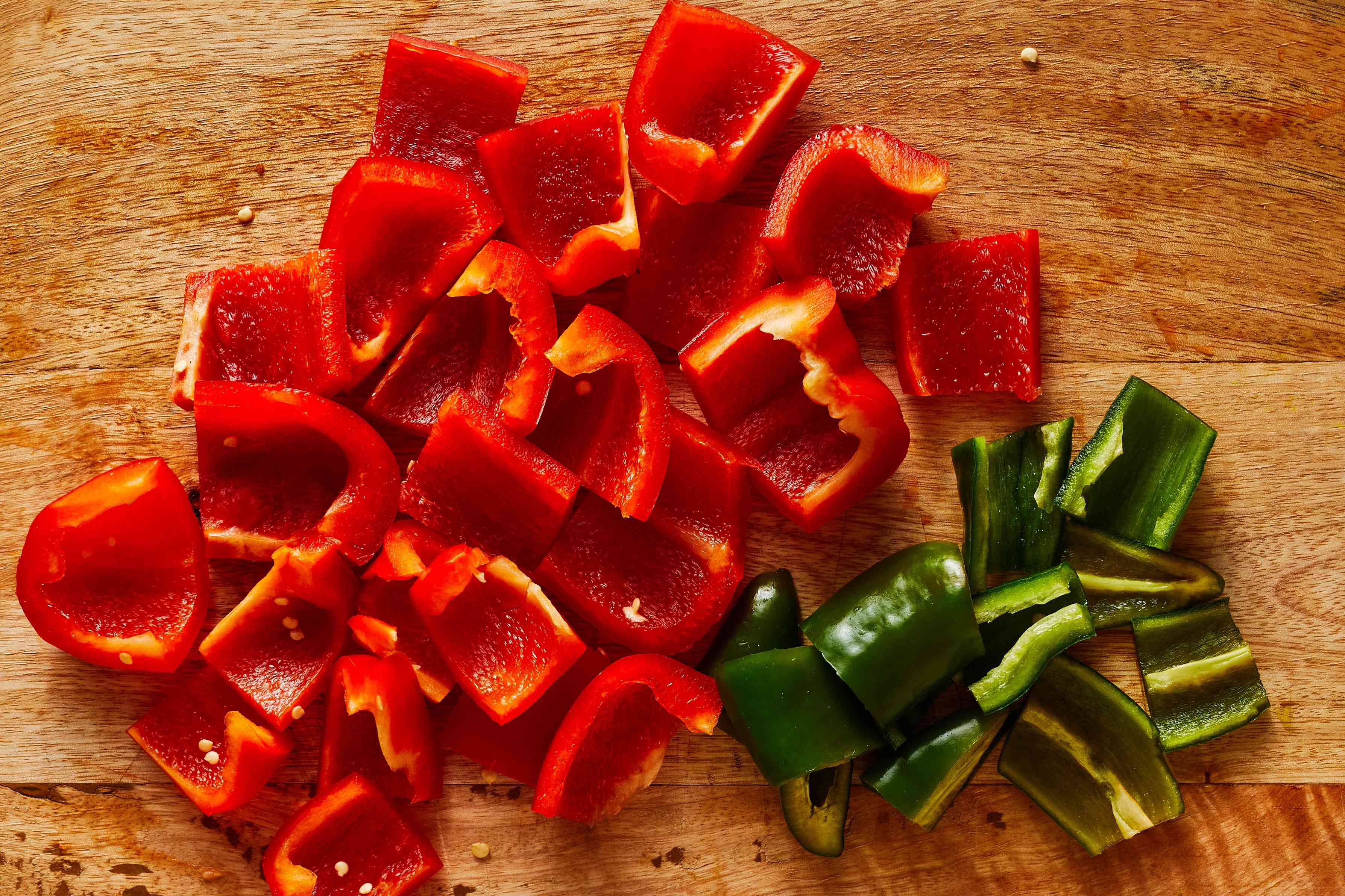 Cut the flesh of the peppers into large pieces