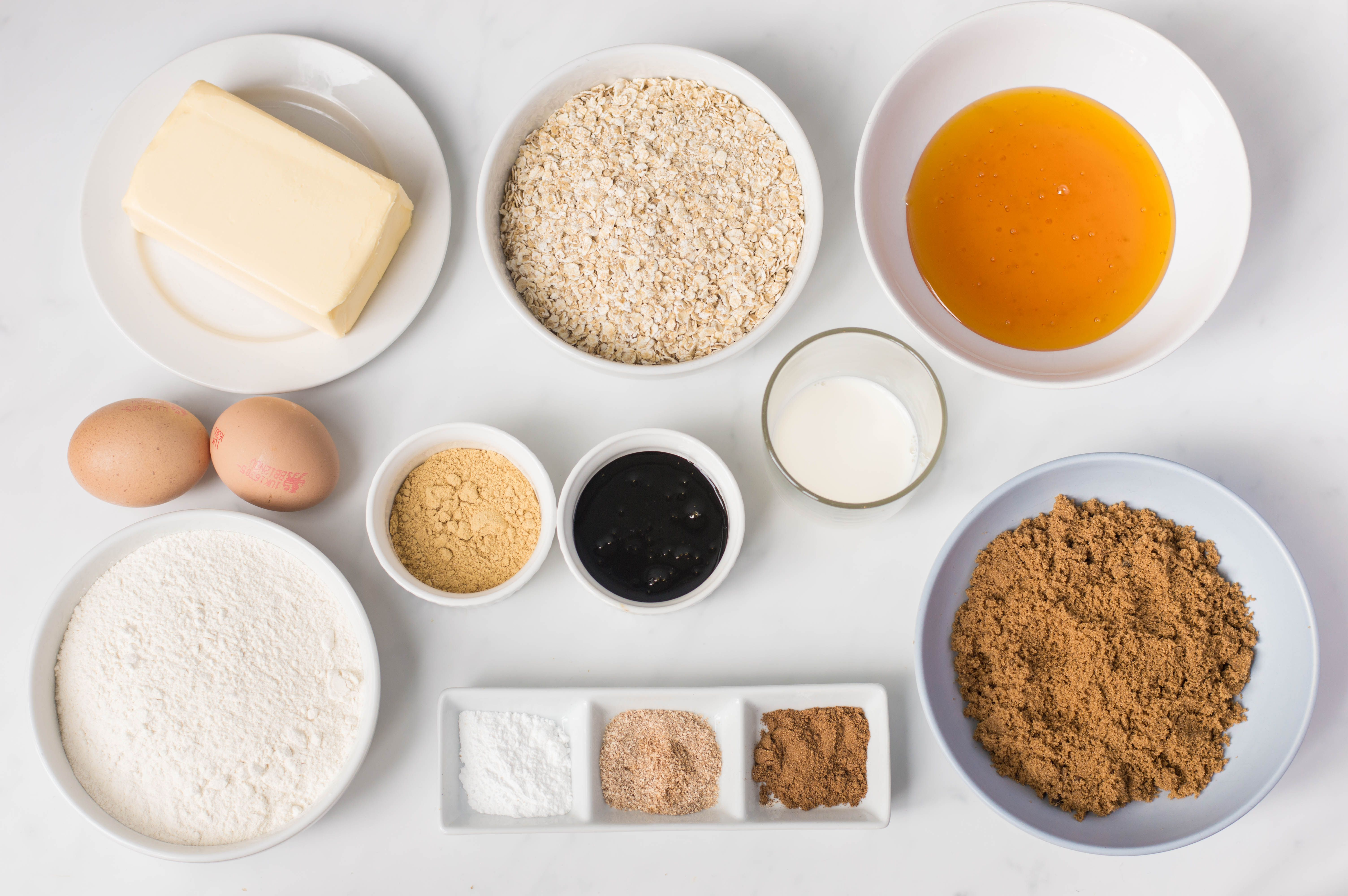 Ingredients for making traditional Yorkshire parkin
