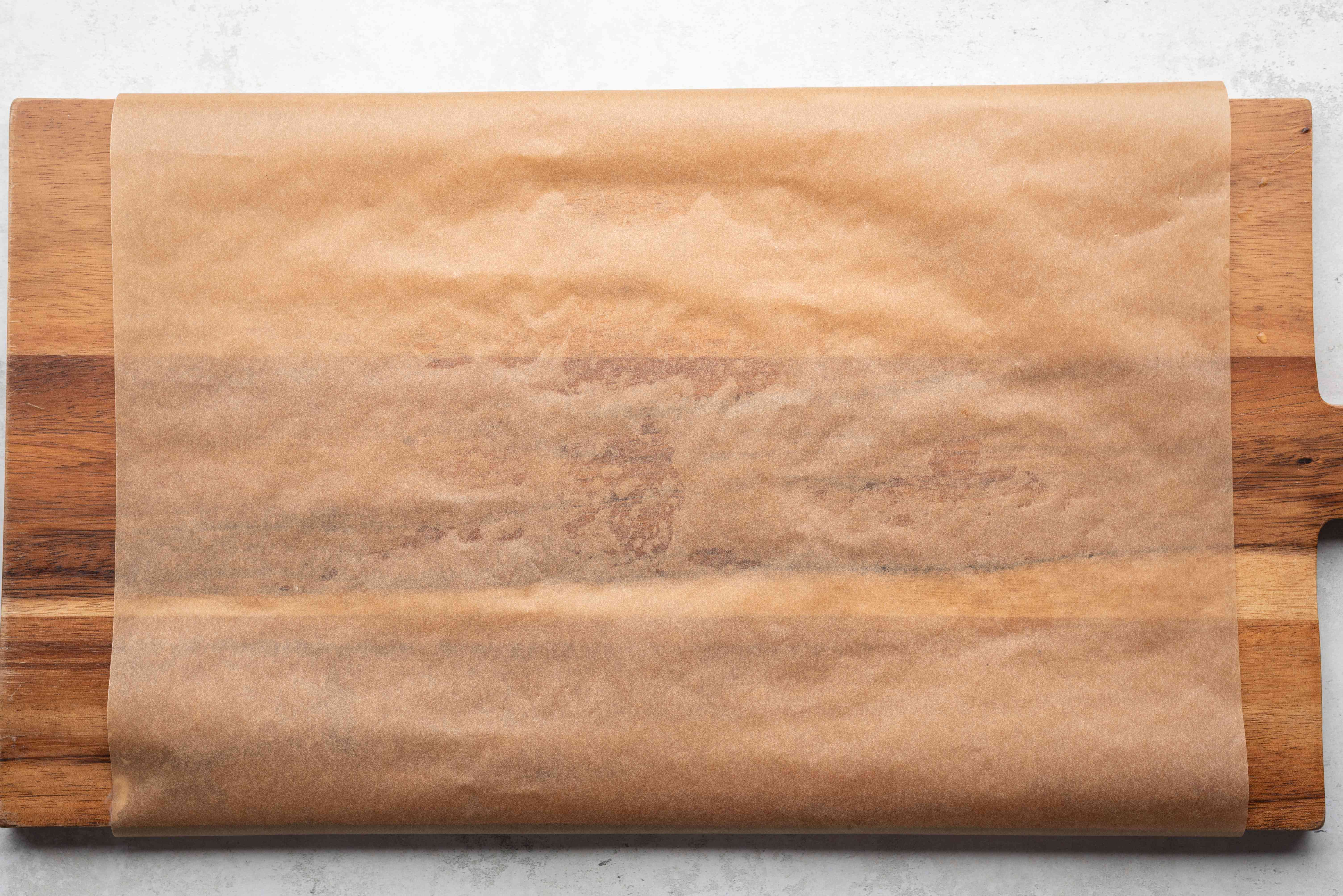 parchment paper on a cutting board