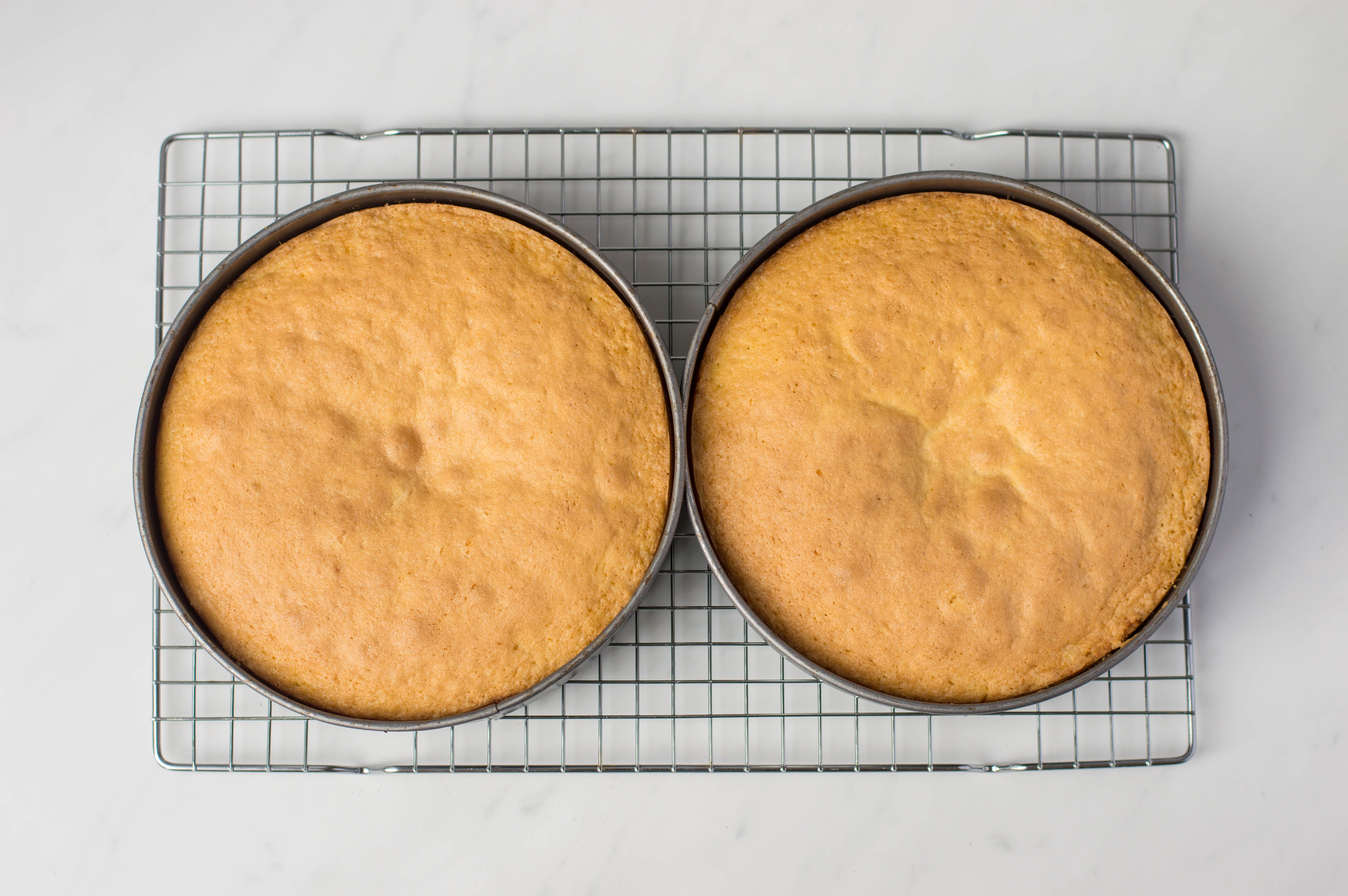 Cakes on cooling rack