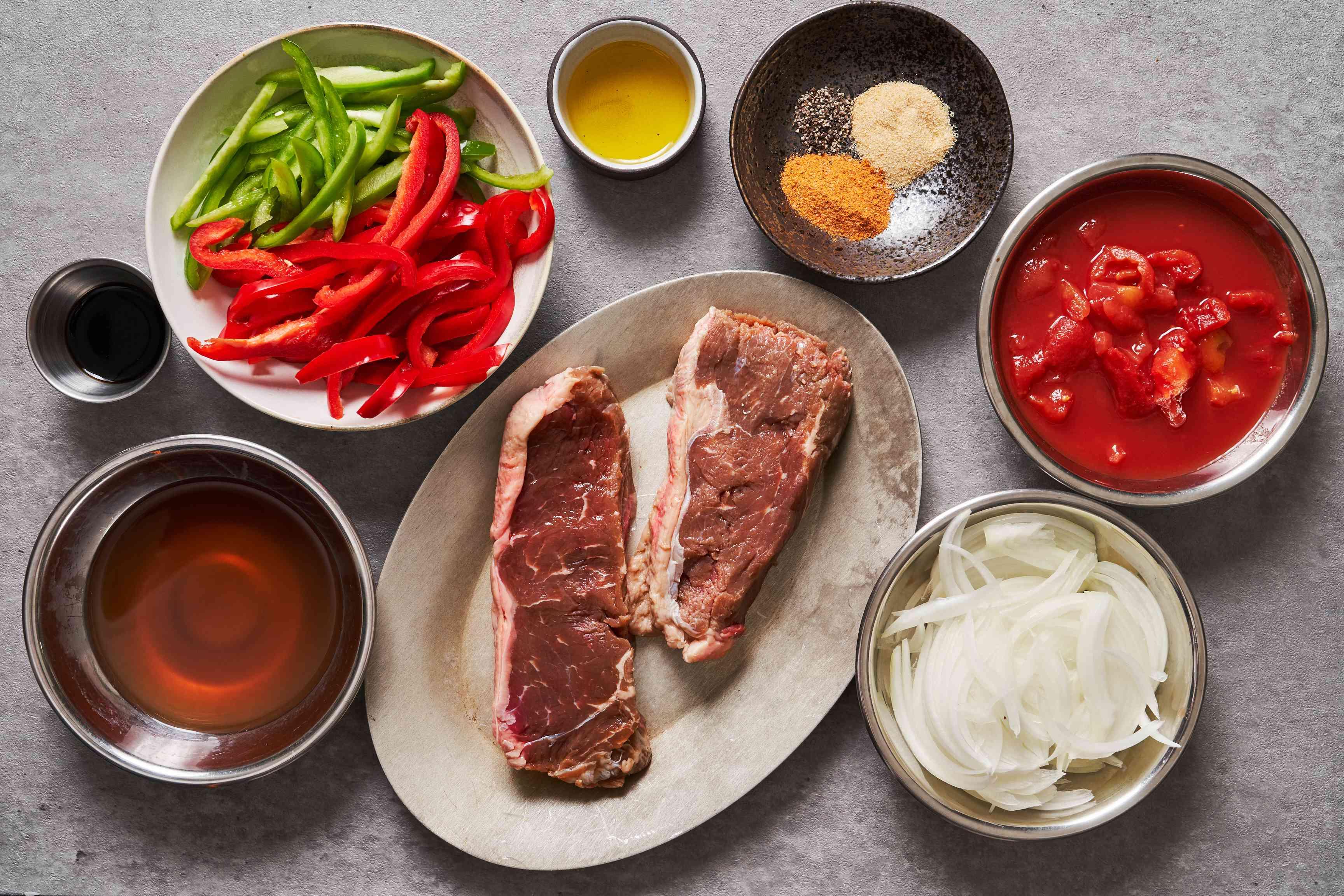 Easy skillet steak and rice ingredients