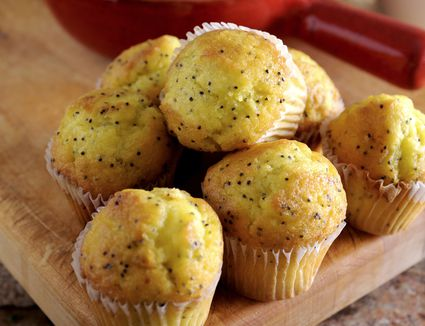 A pile of lemon poppy seed muffins