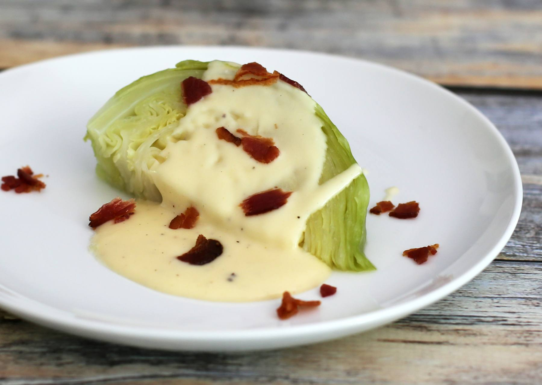 Cabbage with Cheese Sauce and Bacon