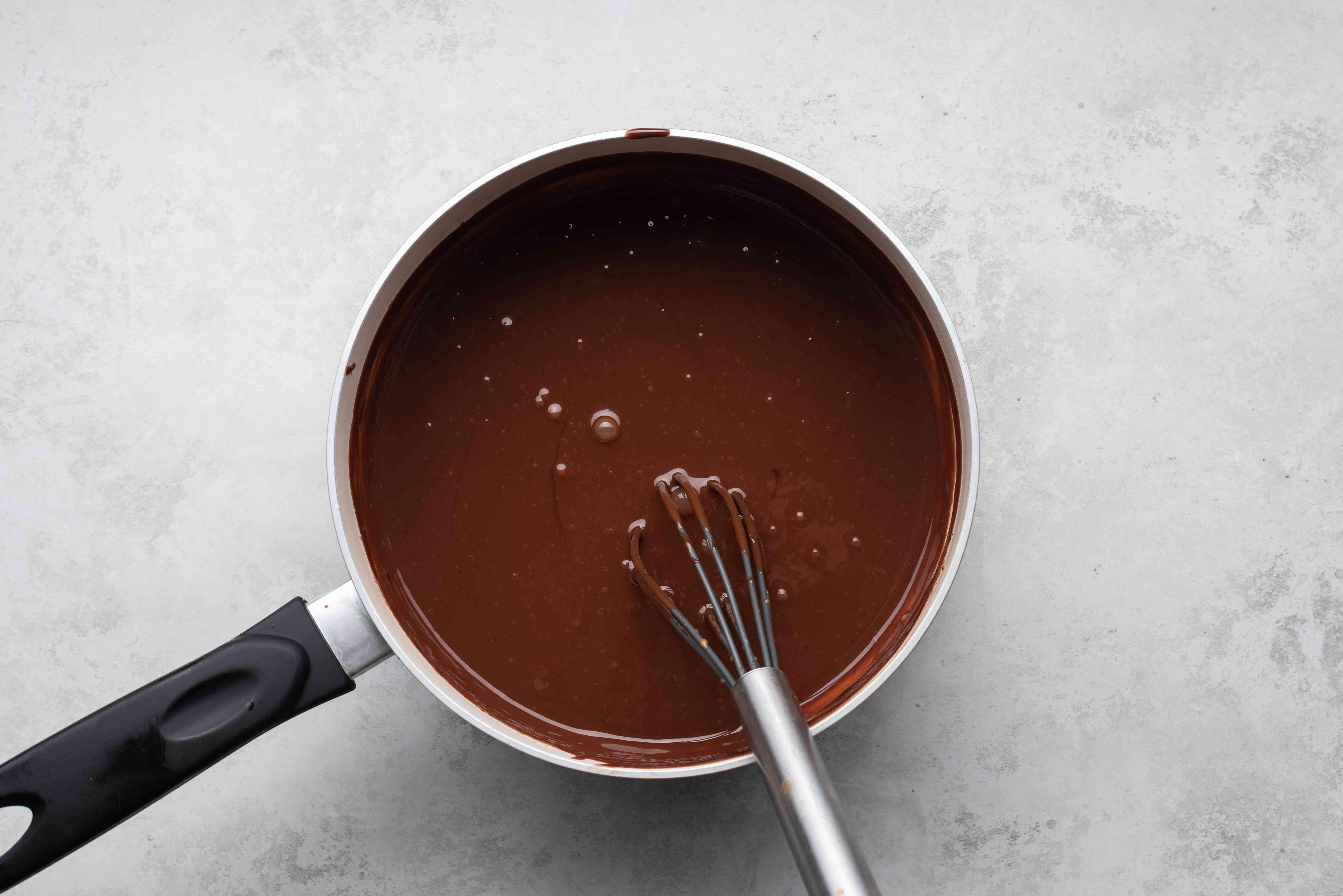 chocolate mixture in a saucepan
