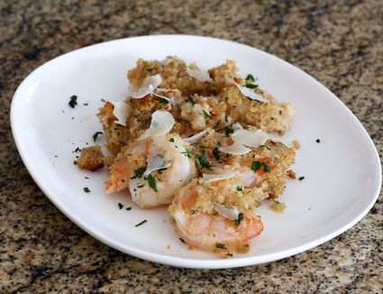 baked shrimp with bread crumb topping