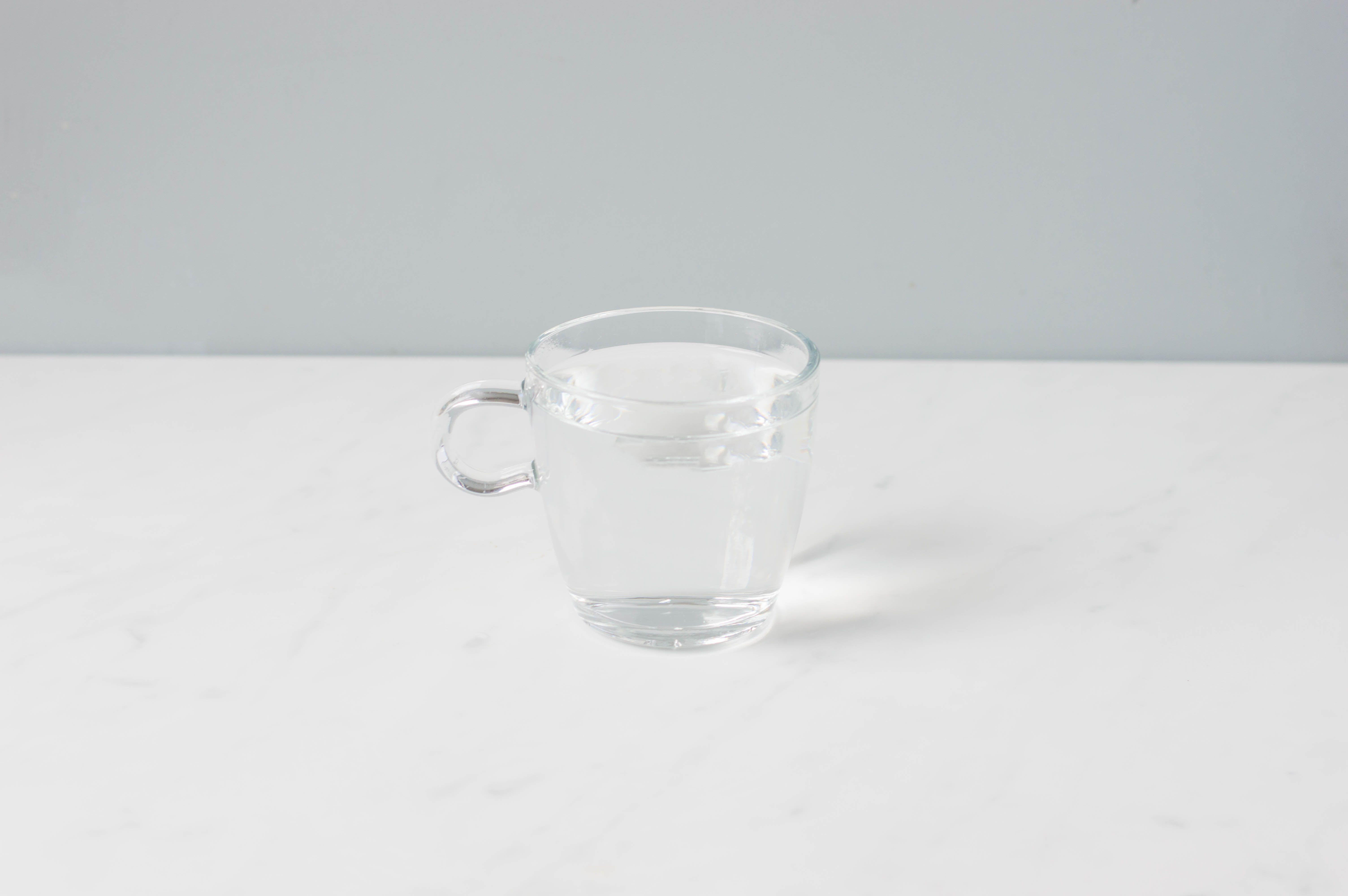 Mug preheated with hot water