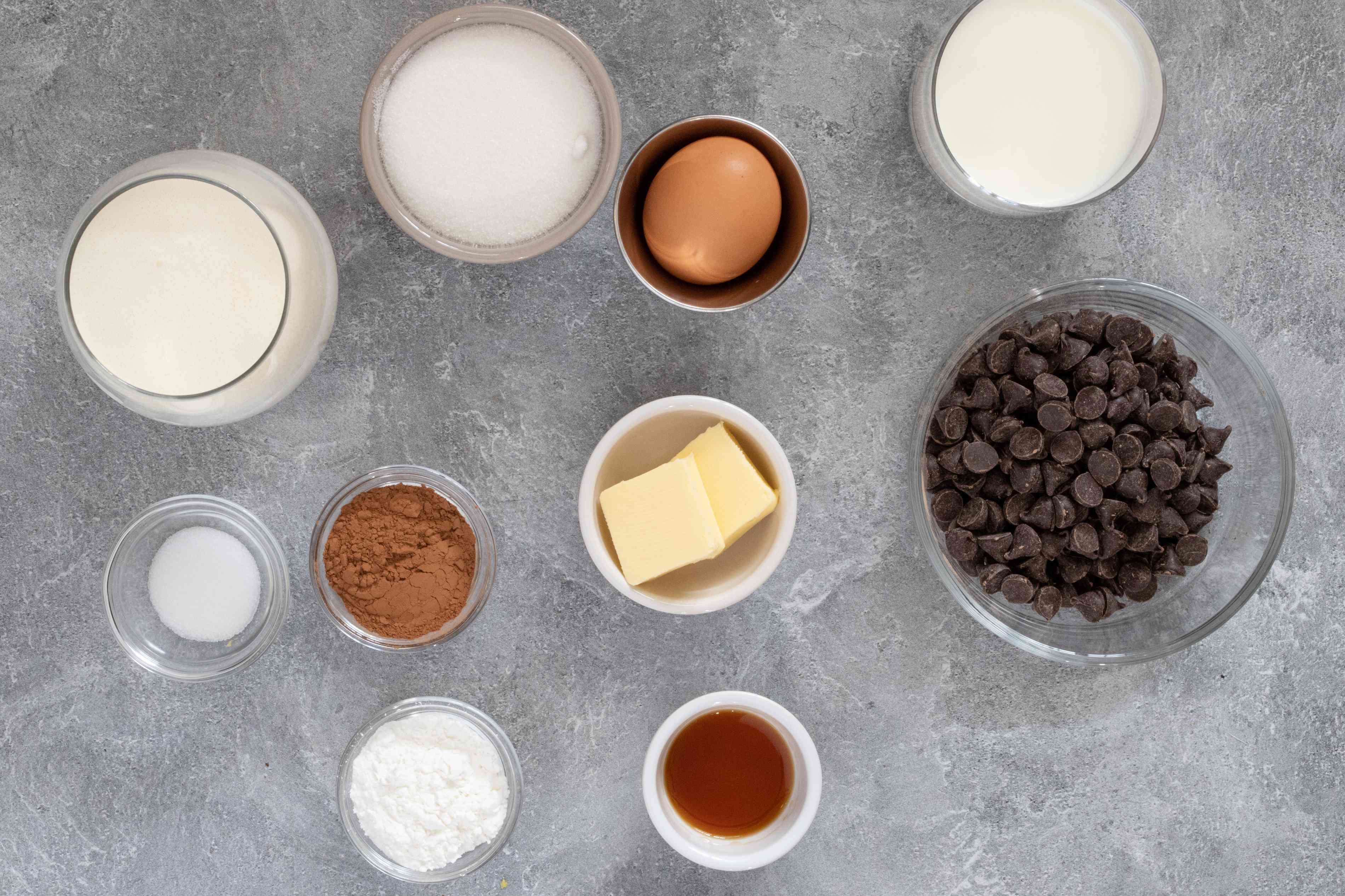 ingredients for the chocolate doberge cake filling