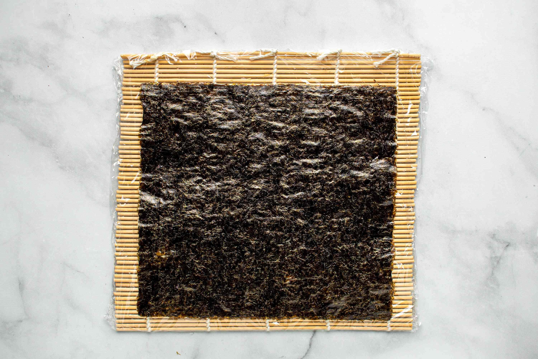 seaweed on a bamboo mat