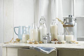 Non-dairy milk: vegan milk, soy milk, almond milk, lactose-free, hazelnut milk, rice milk, oat milk