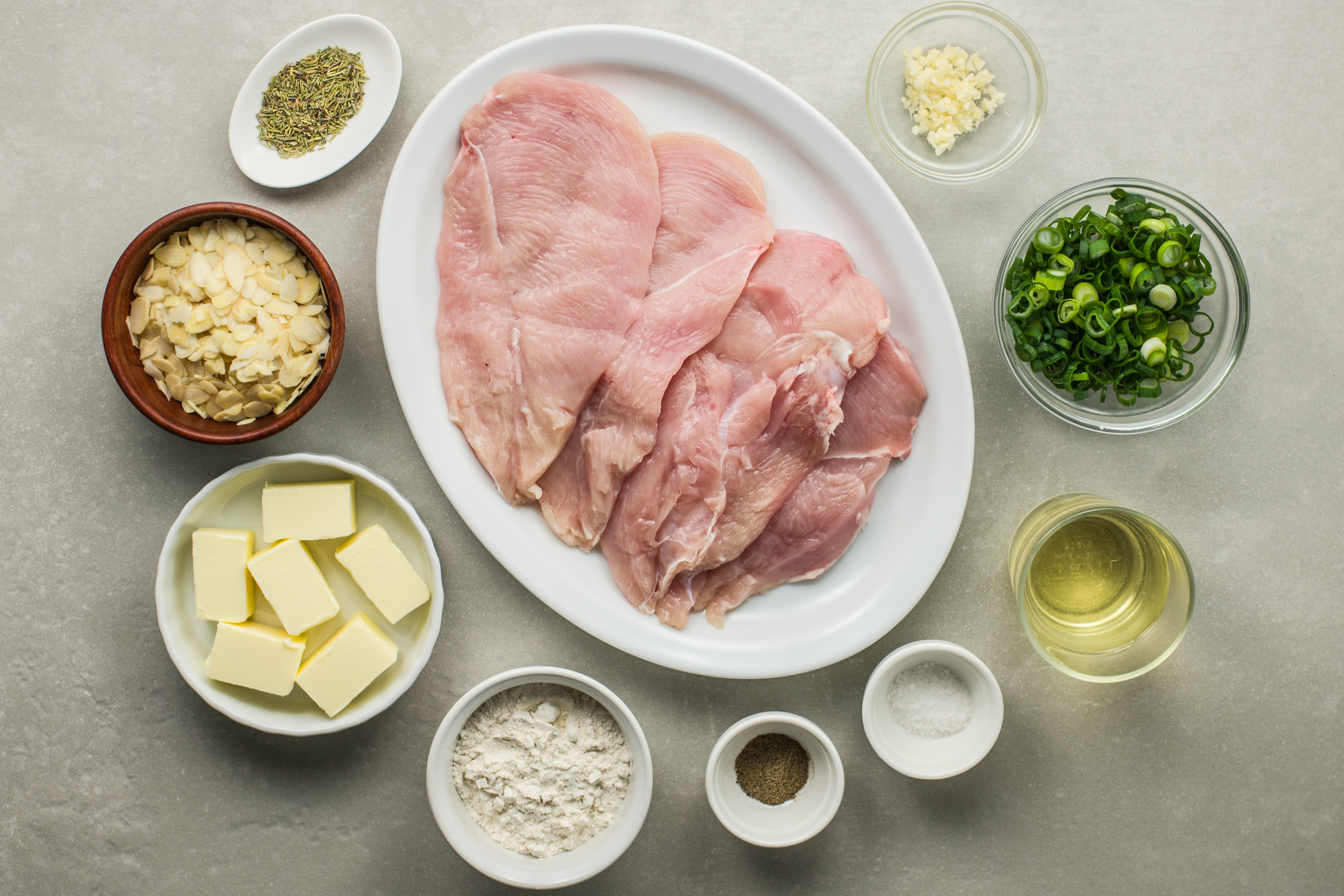 Ingredients for easy skillet chicken with almonds