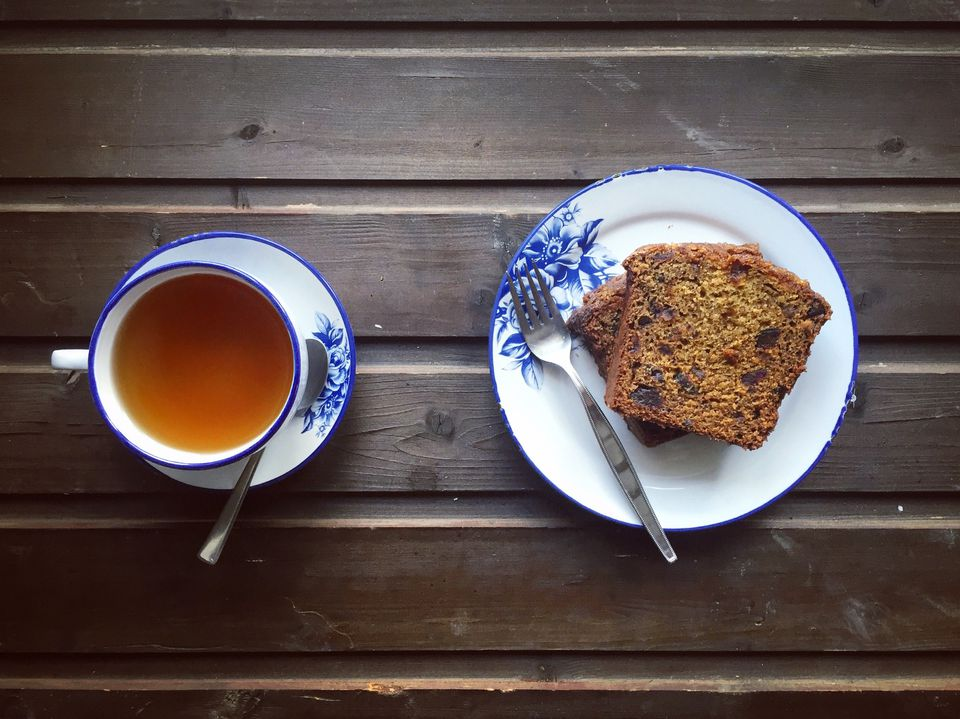 banana date bread and cup of tea