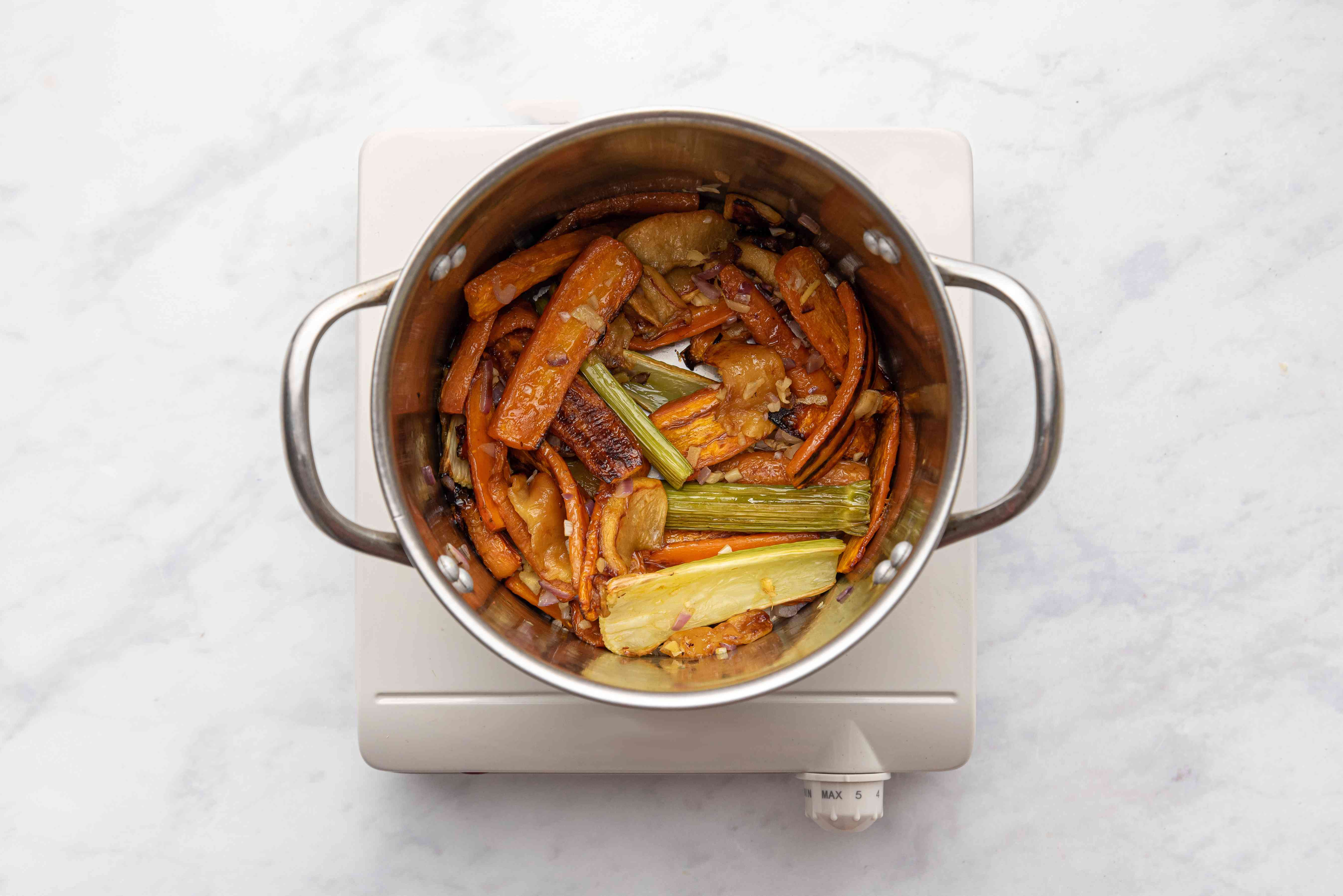 Roasted vegetables in a pot