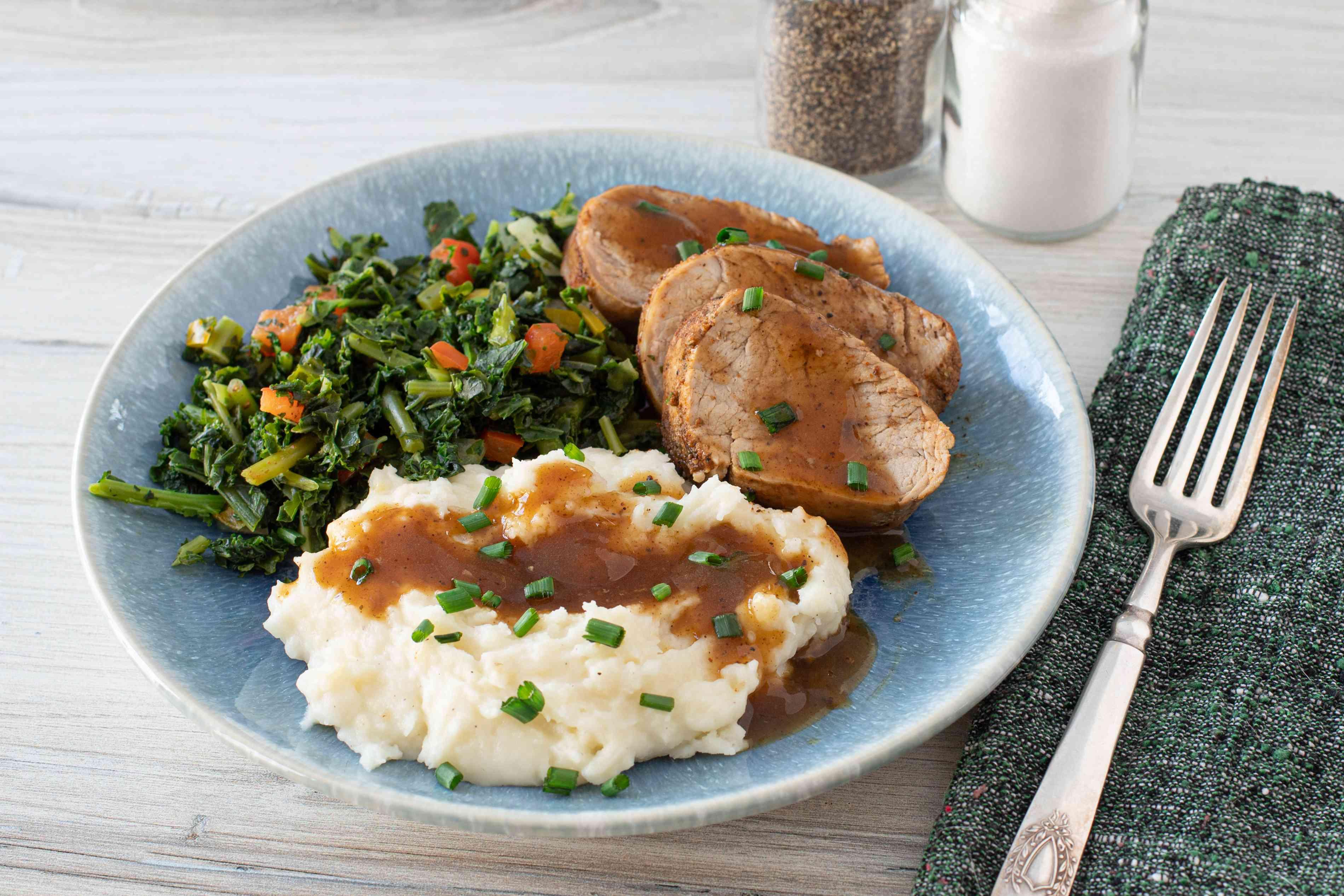 Instant Pot pork tenderloin with potatoes and kale