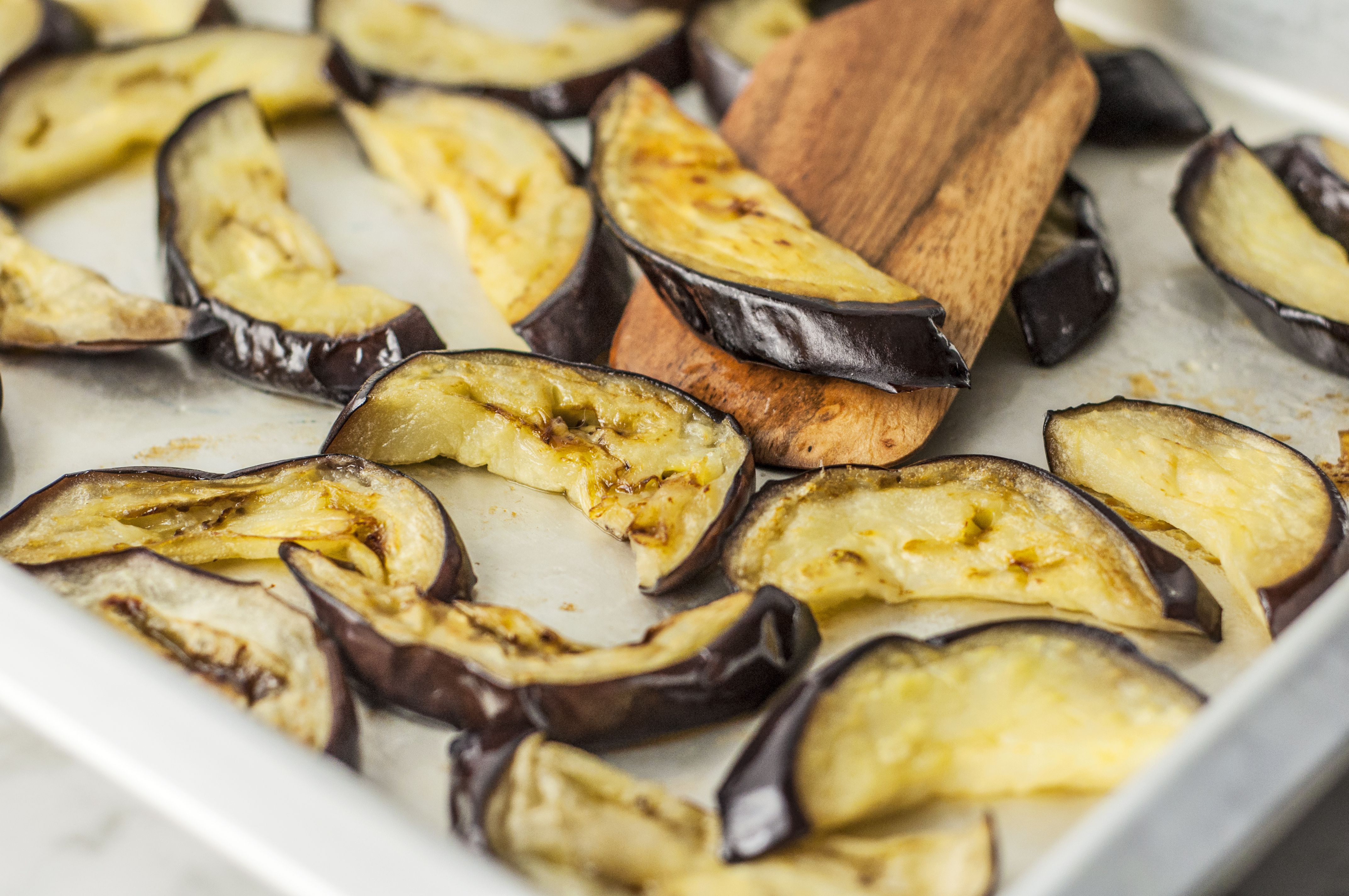 Eggplant is nicely browned after cooking