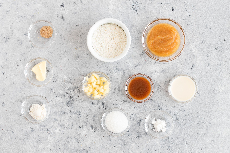Ingredients into caramel apple mug cake