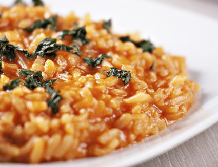 Close-up of a vegan risotto with sun dried tomatoes