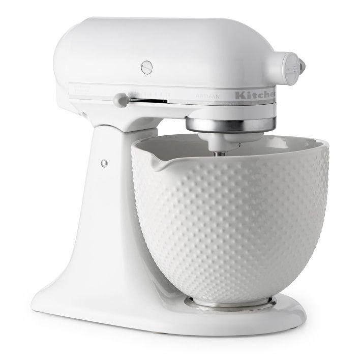 KitchenAid Artisan White Mixer with Hobnail Bowl