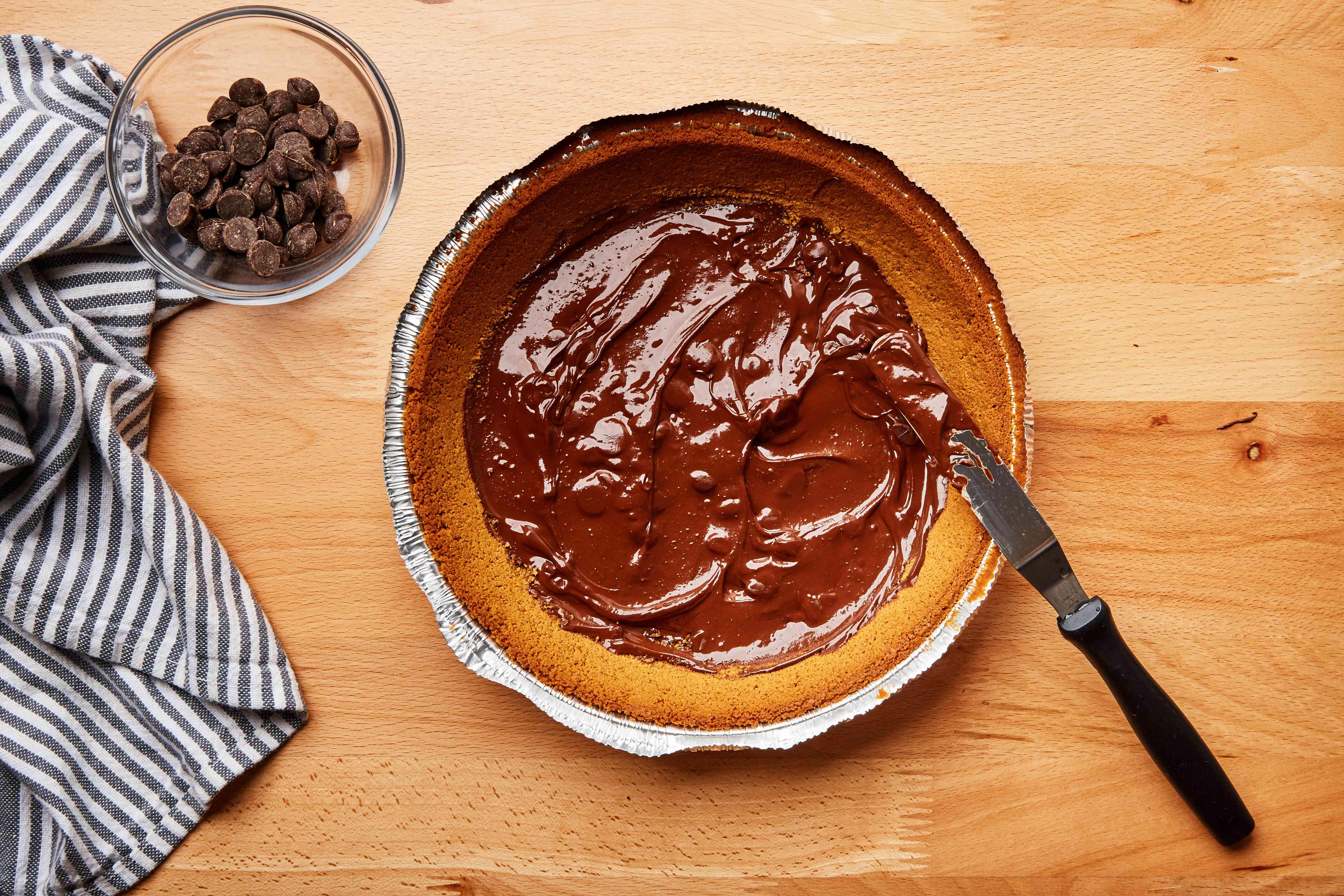 Fudge on bottom of pie