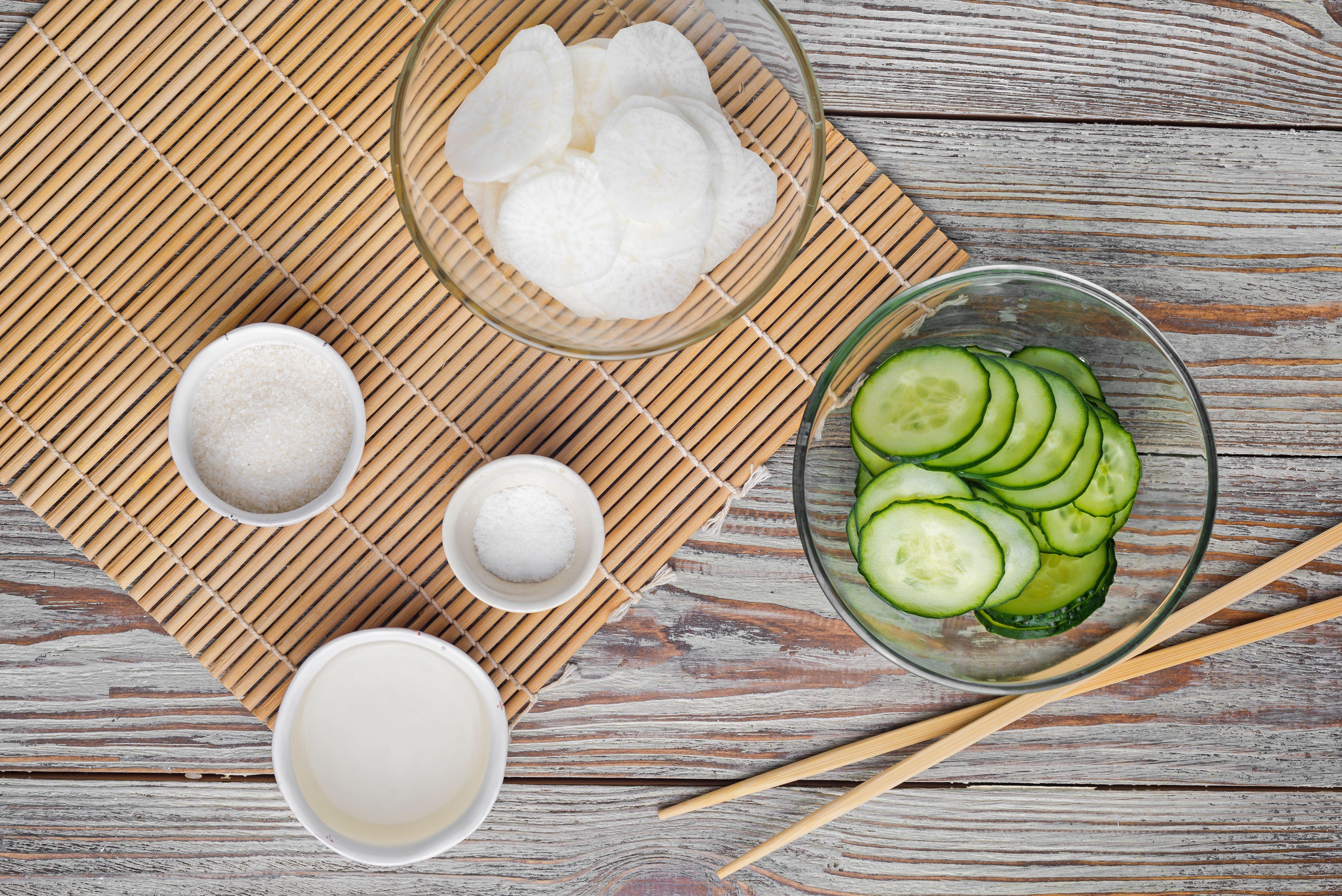Daikon and Cucumber Sunomono (Japanese Vinegar Salad) Ingredients